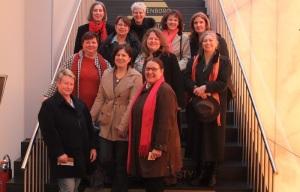 Landesvorstand der AsF Baden-Württemberg mit den Kreisvorsitzenden der AsF Pforzheim Enzkreis auf der Treppe der Schmuck